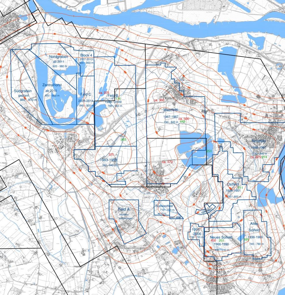 In der Abbildung sind alle Baufelder der esco und Cavity sowie die beeinflussten Ortslagen dargestellt. Die aus dem Abbau resultierenden, prognostizierten Endsenkungen in cm wurden als Linien gleicher Endsenkungen berechnet und in rot dargestellt. Die gemessenen Gesamtsenkungen bis Mitte 2016 der einzelnen Baufeldzentren sind in der nachfolgenden Beschreibung und in der Abbildung in grün gekennzeichnet.